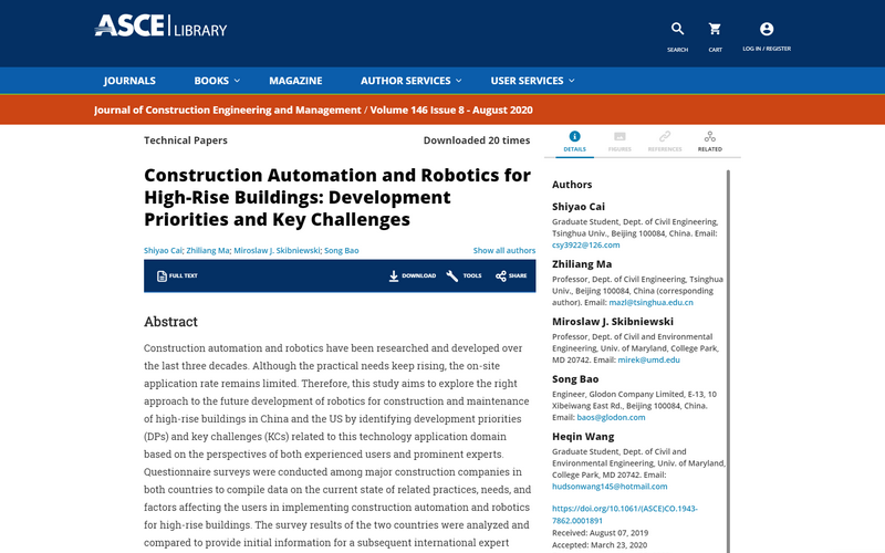 Construction automation and robotics for high-rise buildings: development priorities and key challenges