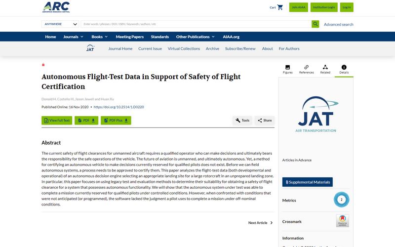 Autonomous flight-test data in support of safety of flight certification