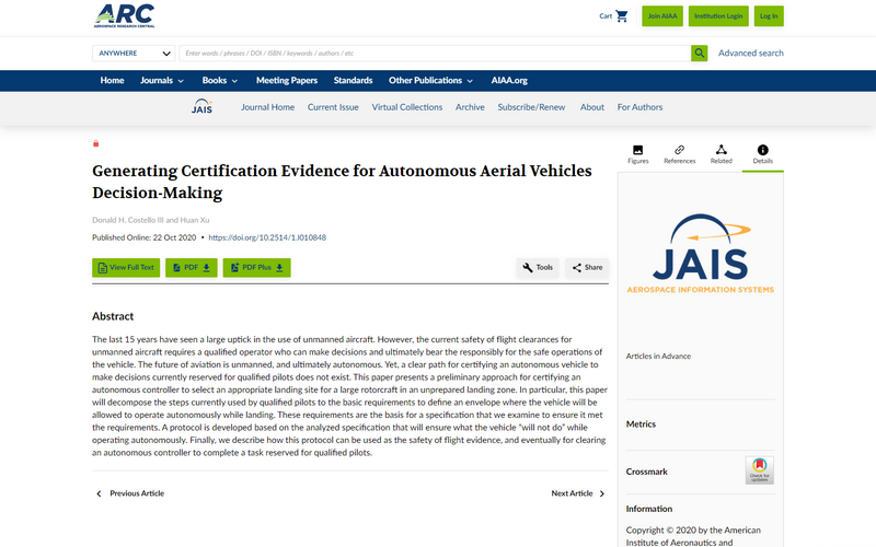 Generating certification evidence for autonomous aerial vehicles decision-making