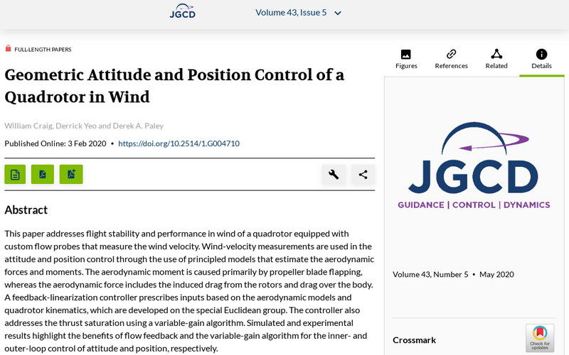 Geometric attitude and position control of a quadrotor in wind