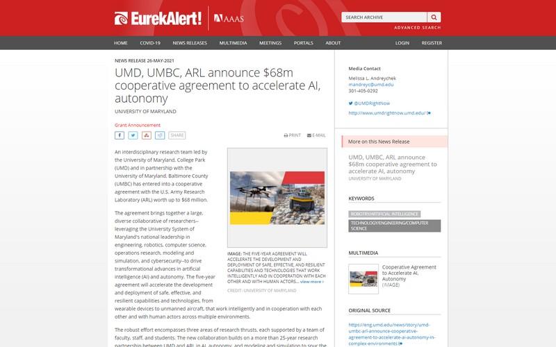 UMD, UMBC, ARL announce $68m cooperative agreement to accelerate AI, autonomy