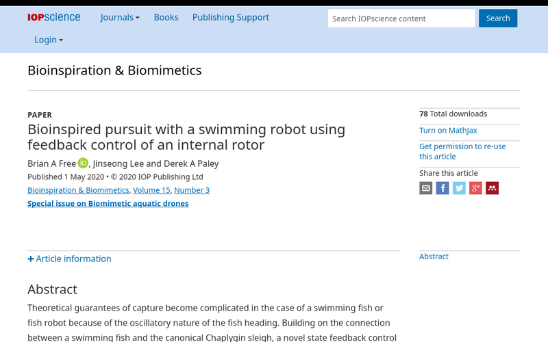 Bioinspired pursuit with a swimming robot using feedback control of an internal rotor
