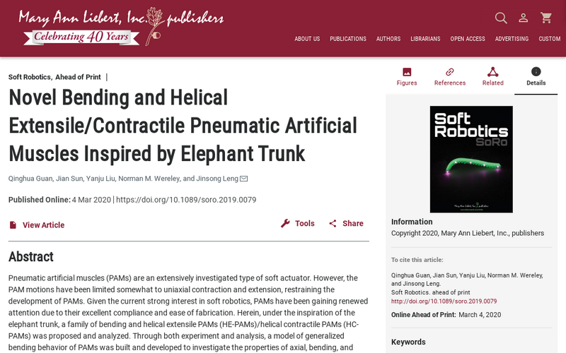 Novel bending and helical extensile/contractile pneumatic artificial muscles inspired by elephant trunk
