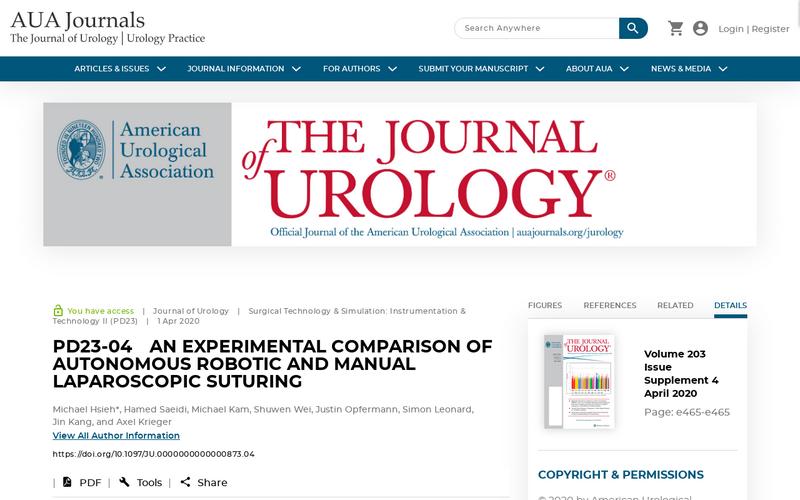 An experimental comparison of autonomous robotic and manual laparoscopic suturing