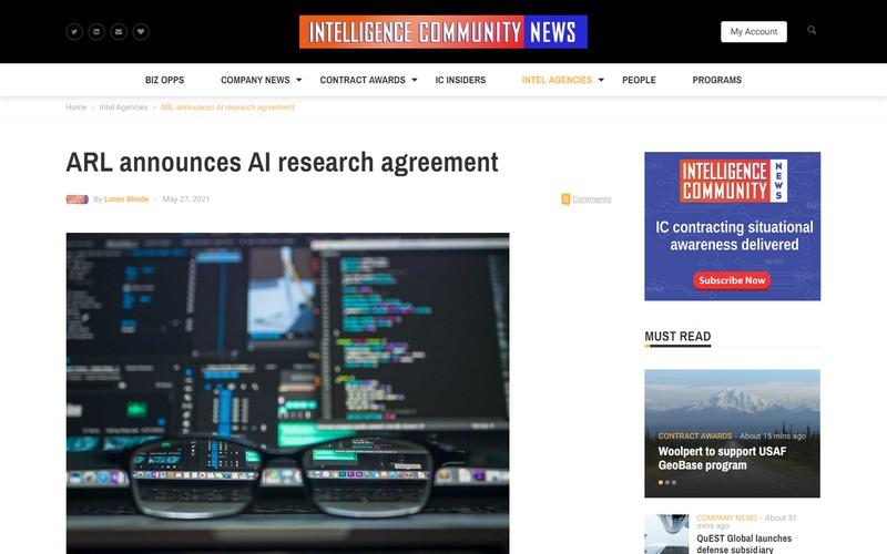 ARL announces AI research agreement