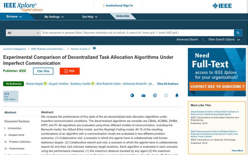 Experimental comparison of decentralized task allocation algorithms under imperfect communication