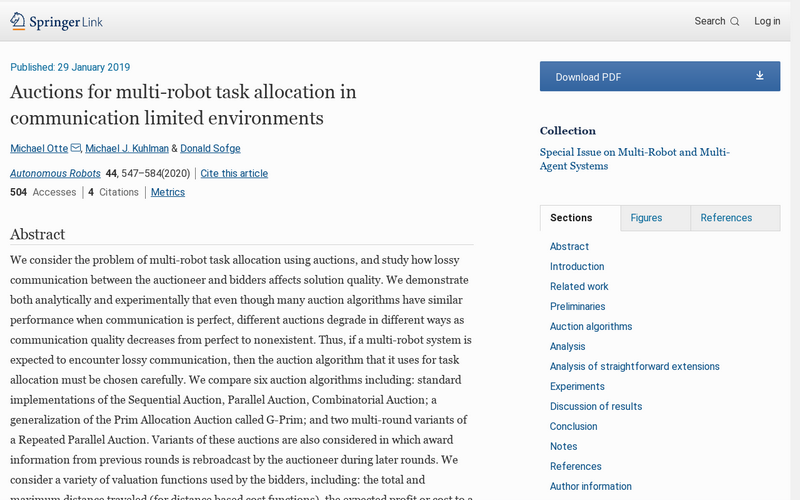 Auctions for multi-robot task allocation in communication limited environments