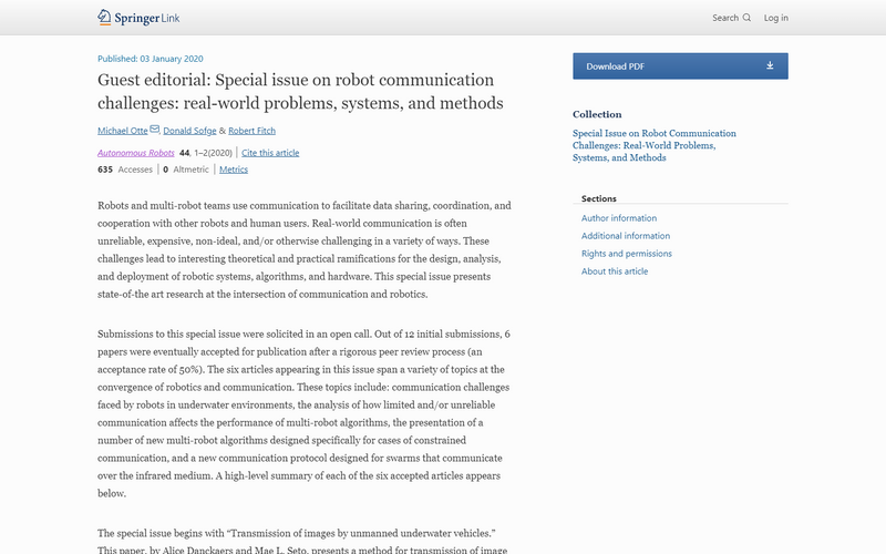 Special issue on robot communication challenges: real-world problems, systems, and methods