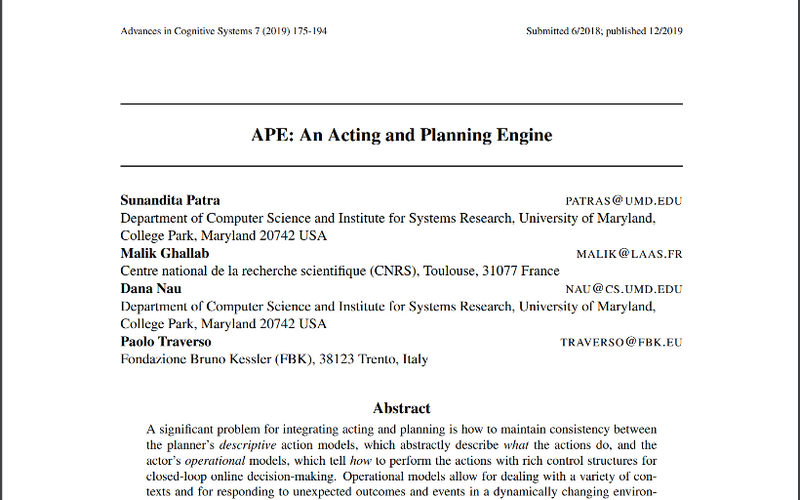 APE: An Acting and Planning Engine