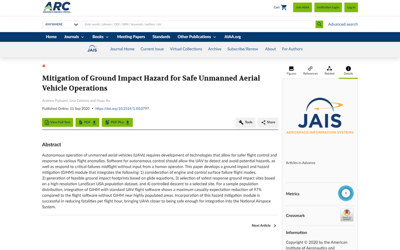 Mitigation of ground impact hazard for safe unmanned aerial vehicle operations