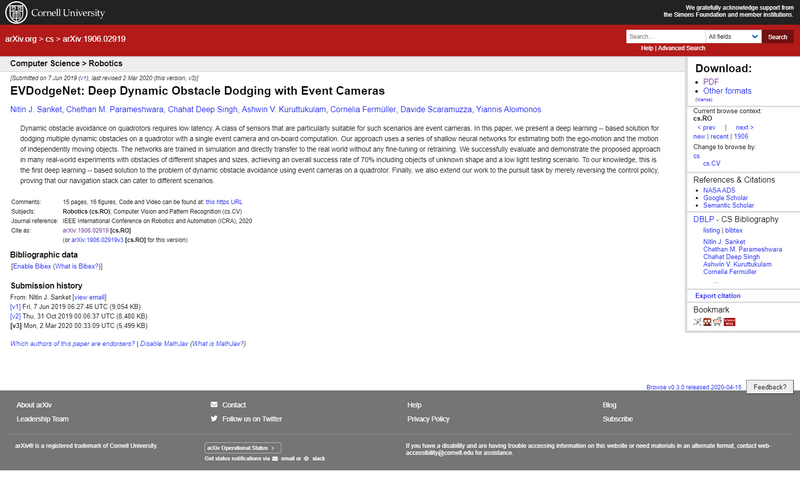 EVDodgeNet: deep dynamic obstacle dodging with event cameras