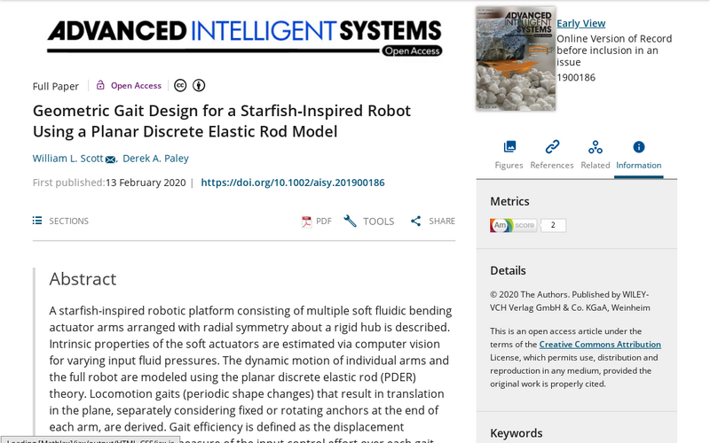 Geometric gait design for a starfish‐inspired robot using a planar discrete elastic rod model