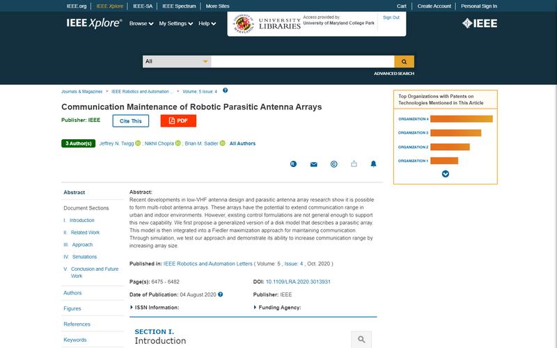 Communication Maintenance of Robotic Parasitic Antenna Arrays