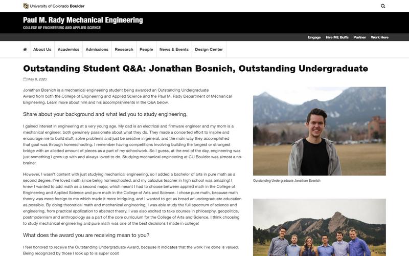 Outstanding student Q&A: Jonathan Bosnich, outstanding undergraduate