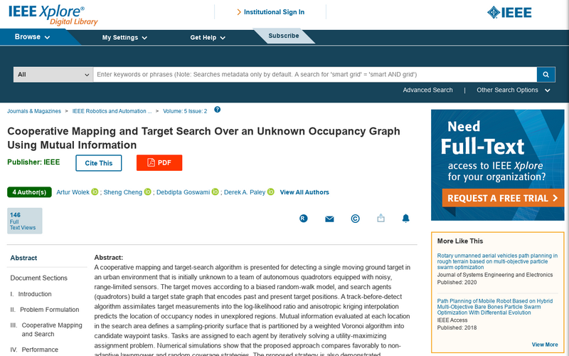 Cooperative mapping and target search over an unknown occupancy graph using mutual information