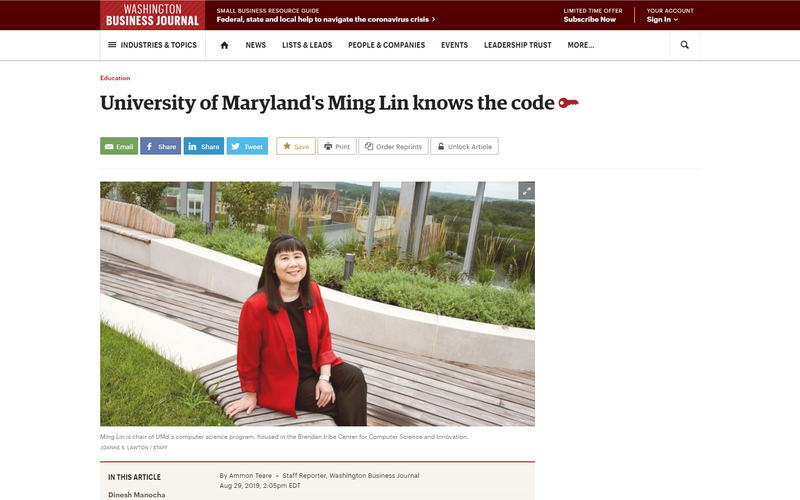 University of Maryland's Ming Lin knows the code