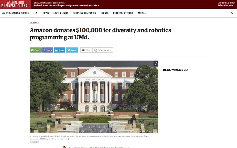 Amazon donates to the University of Maryland