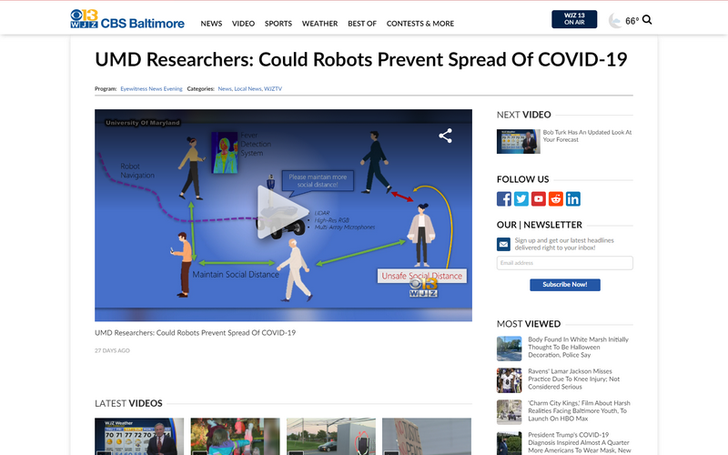 UMD researchers: could robots prevent spread of COVID-19