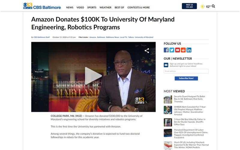 Amazon donates 100k to University of Maryland engineering, robotics programs