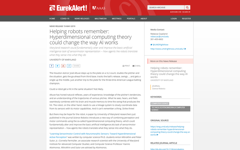 Helping robots remember: Hyperdimensional computing theory could change the way AI works
