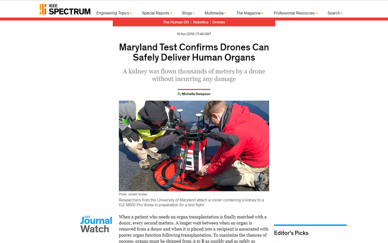Maryland test confirms drones can safely deliver human organs