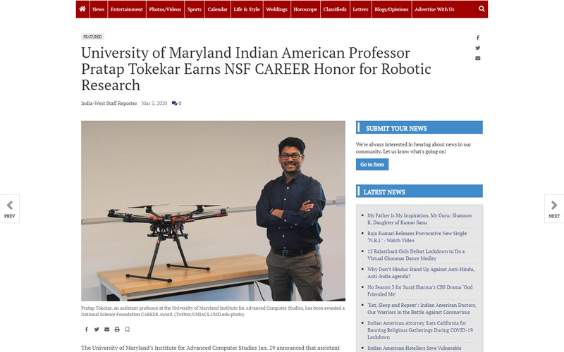 University of Maryland Indian American professor Pratap Tokekar earns NSF CAREER honor for robotic research