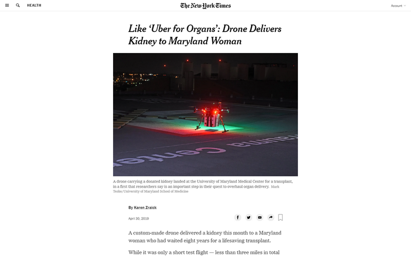 Like 'Uber for organs': drone delivers kidney to Maryland woman